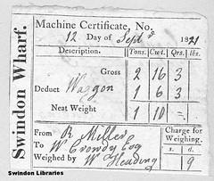 1821: Swindon Wharf (Machine Certificate) (Local Studies, Swindon Central Library) Tags: canal swindon ephemera berks 1821 crowdy wiltsandberkscanal wilts 1820s swindonwharf