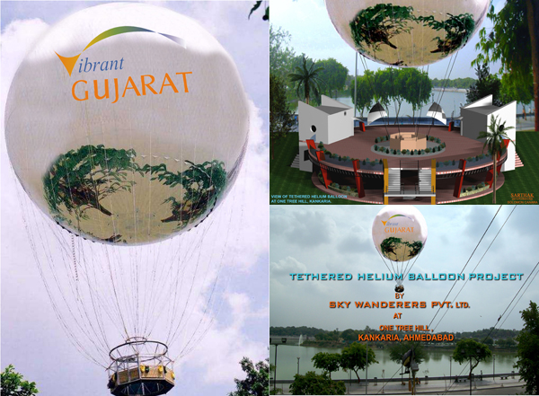Artists image of proposed Tethered helium balloon at Kankaria lake front