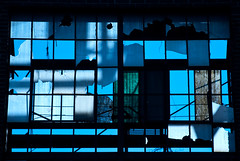 Glass in Blue (Anitab) Tags: glass sunrise pennsylvania brokenglass bluesky pa decrepit variations decayed ambler boilerhouse asbestosplant
