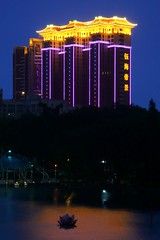 Zhuhai - Residential (cnmark) Tags: china blue light lake color colour reflection building tower water architecture modern night buildings geotagged noche pond nacht explore guangdong hour noite  residential nuit gebude notte zhuhai nachtaufnahme   blueribbonwinner otw  explored allrightsreserved jida platinumheartaward  yuhaidijing geo:lat=22242168 geo:lon=113576773
