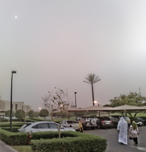 Hilton Parking Lot with Moon in the Dusty Sky