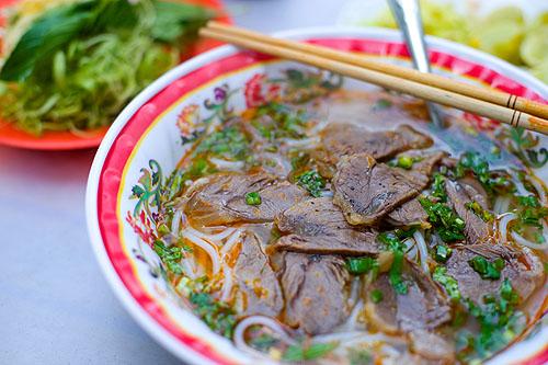 A bowl of bún bò Huế, Saigon, Vietnam