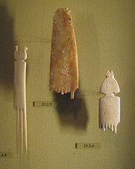 Bone Comb with Double Bird Design and Portions of Bone Combs (peterjr1961) Tags: nyc newyorkcity newyork art museum egypt egyptian metropolitanmuseumofart