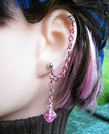 Girly Gamer Pink Cartilage Chain Earring