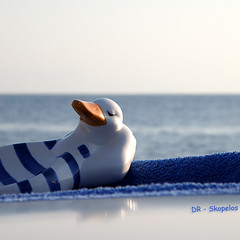 a duck on my deck... (Skopelos ) Tags: blue sea mer reflection smile composition square relax toy toys greek mar duck focus meer brinquedo mare dof dino squares relaxing explore greece pato squareformat ente fp frontp