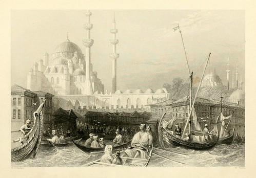 013- Mezquita de la Sultana Valide cerca del puerto-Las bellezas del Bosforo 1838-W.H. Bartlett