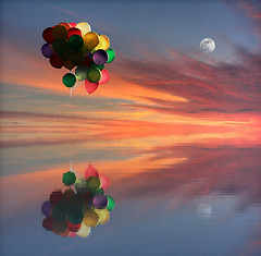 Dreaming (Philerooski) Tags: ocean light sunset shadow sky moon lake color reflection water colors composite clouds contrast reflections wonderful river balloons square amazing interesting fantastic perfect colorful heaven different many vibrant gorgeous awesome digitalart creative dream vivid orb multiplicity dreaming fullmoon fantasy stunning bunch string colored dreamy ripples bundle heavens incredible magical hdr marvelous duplicate unbelievable shocking fascinating surprising astounding prodigious oldmoon philerooski