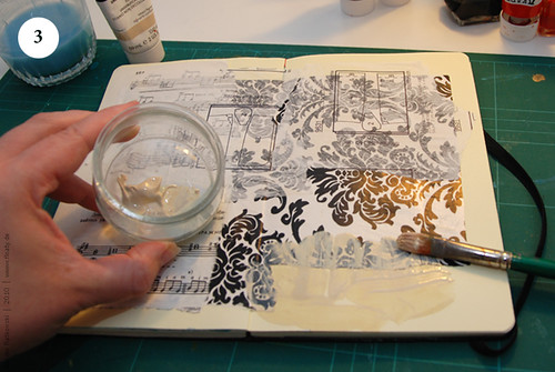 Artbook background with acryl, Step 3