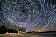 Been There, Done That (Matt Molloy) Tags: trees winter sky snow ontario canada motion field lines night barn stars landscape photography timelapse movement circles trails lovelife photostack mattmolloy timestack