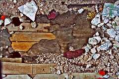 Jigsaw Falling Into Place (abandoned-echoes) Tags: wood old blue red macro texture abandoned colors lines yellow metal farmhouse vintage rust chaos decay destruction debris gritty plaster retro radiohead fashioned