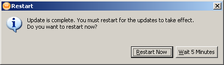 LotusLive Plugin - Lotus Notes Client Prompt for Restart