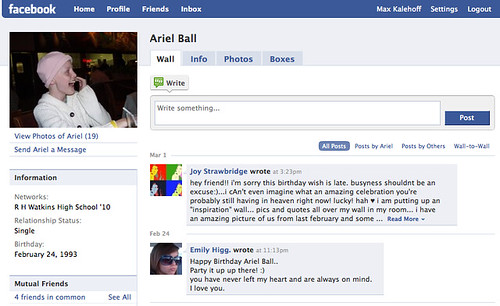 Ariel's Facebook Profile