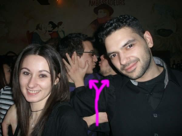 Photobombing friends