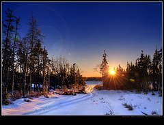 Daylight Savings Time! (Dave the Haligonian) Tags: winter sunset sun snow canada ice lens evening novascotia shadows dusk tracks flare atv hdr frozenlake daylightsavingstime terencebay nikkor18200mmvr nikond90 dsc4099100101