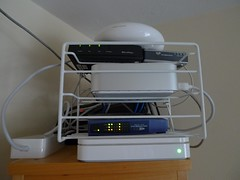 new server setup (seeareelem) Tags: computer airport mac macmini server dsl voip airportextreme timecapsule