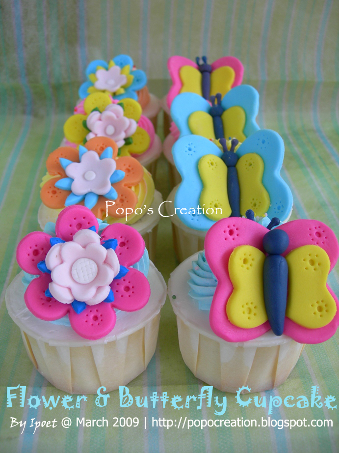 Flower and Butterfly cupcake