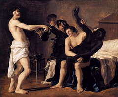 Three Young White Men and a Black Woman by Dutch painter Christiaen van Couwenbergh