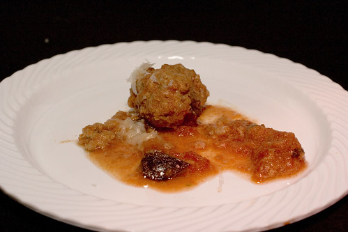 Icon - Veal Meatball with Eggplant and Tomato Compote CU