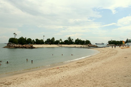 Beach Santosa and artificial islands to hide the ships in the background