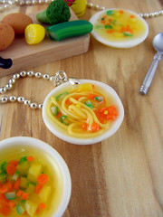 Noodle Soup, Vegetable Soup (Shay Aaron) Tags: food house vegetables soup miniature necklace doll handmade fake broccoli polymerclay fimo noodle resin dollhouse