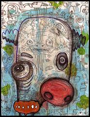 Dogfri The Clown (justinaerni) Tags: original party urban men art love monster pen ink dark painting real artwork women punk raw god native drawing folk outsider surrealism gothic emo pop believe expressionism horror creature lowbrow brut justinaerni