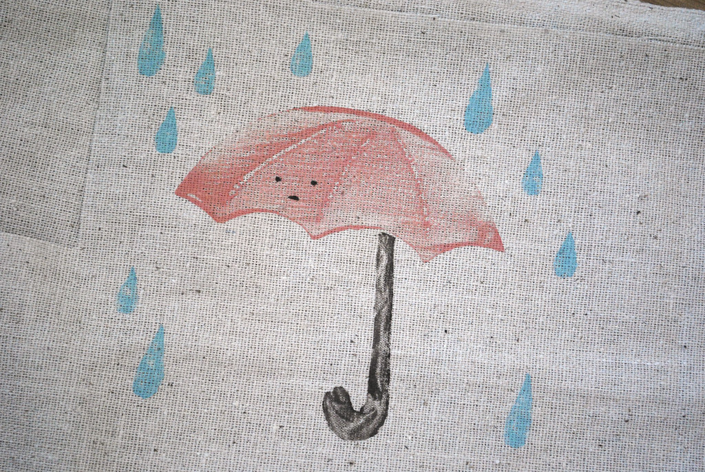 umbrella on fabric