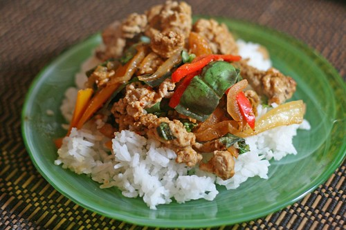 Thai Turkey Bell Peppers Basil Stir Fry
