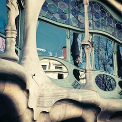 casa batlo window (uwajedi) Tags: barcelona woman reflection window girl stone architecture square casa spain europe underwater stainedglass tourist espana gaudi catalunya antoni batlo