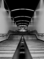 The Untouchables (sinkdd) Tags: bw monochrome station japan stairs digital subway tokyo vanishingpoint blackwhite metro perspective symmetry  ricoh blackdiamond   cx1  blackwhitephotos flickraward blackwhiteaward sinkdd