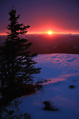 Tree and Sunset (justb) Tags: sunset cloud sun mountain snow mountains tree colors silhouette canon hope colorful bc snowy peak macleod justb 40d