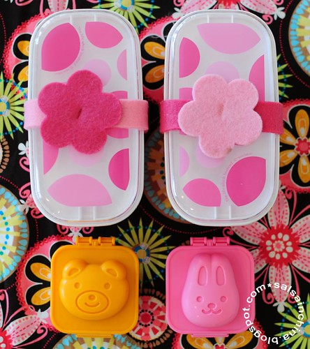 Pink bento with egg molds