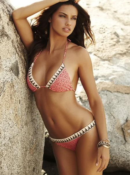 Adriana Lima in Victoria's Secret, designer clothes