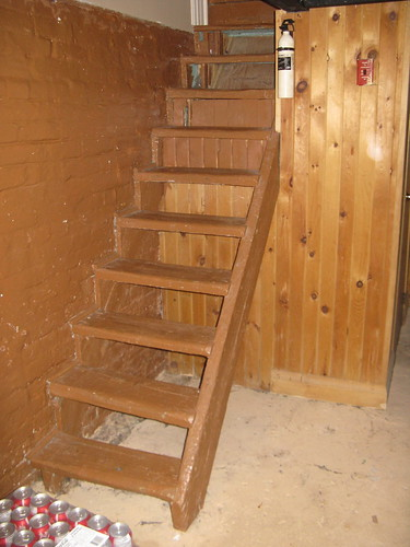 Basement stairs before