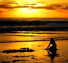 Mermaid of the Pacific Beach (moonjazz) Tags: california light sunset woman beach beauty fairytale gold peace pacific horizon mermaid eternity myth tides abigfave bestofmywinners
