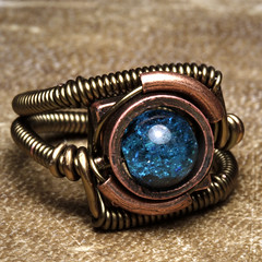 steampunk Jewelry Ring made by CatherinetteRings with blue Crackle bead (Catherinette Rings Steampunk) Tags: blue fiction canada fashion metal wire punk artist industrial mechanical quebec designer handmade montreal unique daniel victorian wrapped jewelry science bijoux retro steam ring jewellery rings fantasy copper scifi bead sciencefiction organic etsy crackle artisan geekery steampunk neovictorian futurist proulx catherinetterings danielproulx