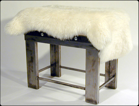 Steel-Wool Ottoman Stool