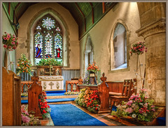 Flower Festival in Monxton Parish Church, Hampshire (Anguskirk) Tags: uk flowers england building church interior eu hampshire andover hdr stmarys decorated topaz adjust flowerfestival parishchurch testvalley 3exphdr denoise monxton revchrispettet