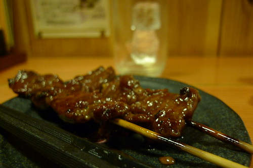 Skewered beef at Yakitori restaurant