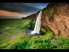 Seljalandsfoss (orvaratli) Tags: travel sunset sky cliff flower green rock river landscape volcano waterfall iceland south north arctic volcanic seljalandsfoss sland vk icelandic eyjafjll arcticphoto rvaratli orvaratli