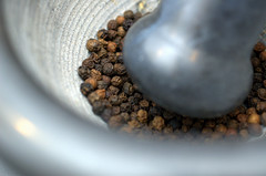 crushing the peppercorns