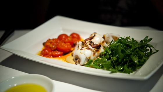 Squid with Chickpea puree