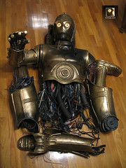C-3PO, Bespin Escape prop (TK409) Tags: gold costume eyes fiberglass damaged c3po bespin disassembled
