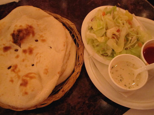 Naan bread and sides