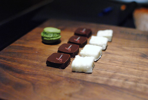 Mignardises: chocolates, marshmallows, green tea macarons