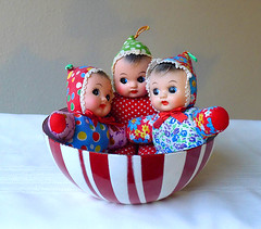 Bowl full of babies (DollyBeMine) Tags: china red baby white face vintage toy colorful doll chinese vinyl bowl rubber plastic crib cloth striped squeak squeaker squeaky shevie