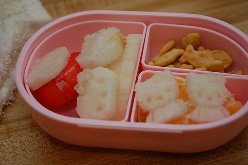Hello Kitty pears  in a snack bento