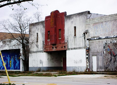 De Luxe Movie Theater, 3303 Lyons Ave., Houston, Texas 022509 (Patrick Feller) Tags: red white blue movie theater lyons avenue houston fifth ward urban decay abandoned face cmwdred cmwd theatre cinema texas motion picture united states north america