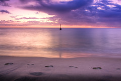Purple Sky (broadview) Tags: ocean sunset beach water sand surf bell indianocean footprints wave cottesloe