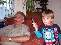 Happy Birthday Grandpa! (Jolphin) Tags: sleeping joke clown grandpa grandson surprise happybirthday trick asleep facepaint