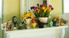 Easter mantle (On Bradstreet) Tags: birds easter tulips eggs daffodils eastereggs vernalequinox vintageeaster oestre ostara paintedeggs mccoypottery vintagepottery welcomespring eastertide celebratingspring paganeaster oeaster easterisapaganholiday springmantel